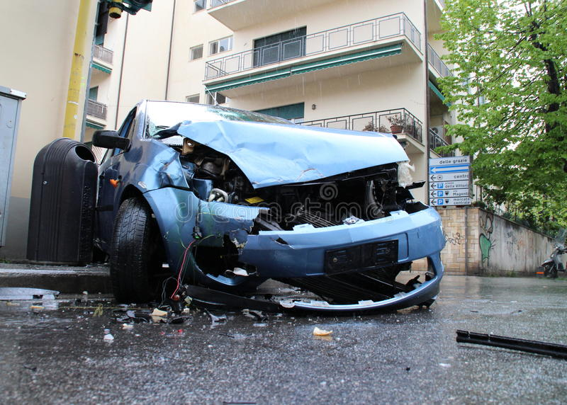 Car accident head-on collision royalty free stock images