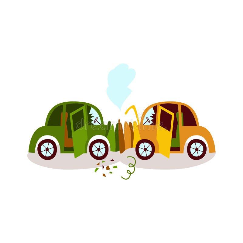 Car accident, head on collision, fender bender vector illustration