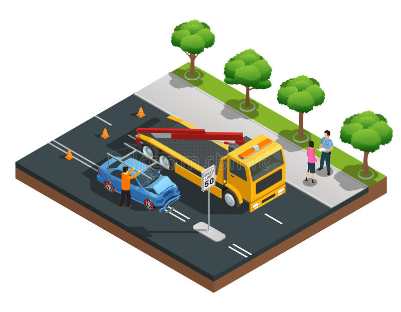 Car Accident Isometric Composition vector illustration