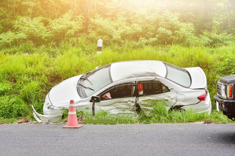 Car accident on road royalty free stock photography