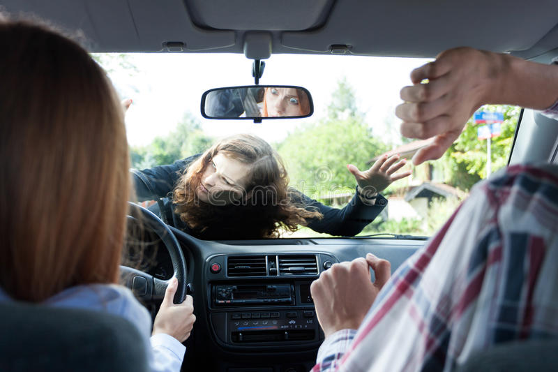 Car accident with pedestrian stock photo