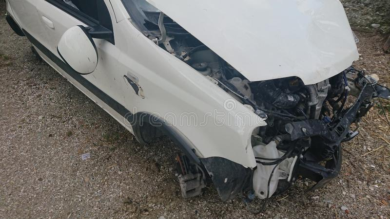 Car accident repair insurance. Closeup of a damaged car after a car road accident.  repair insurance royalty free stock images