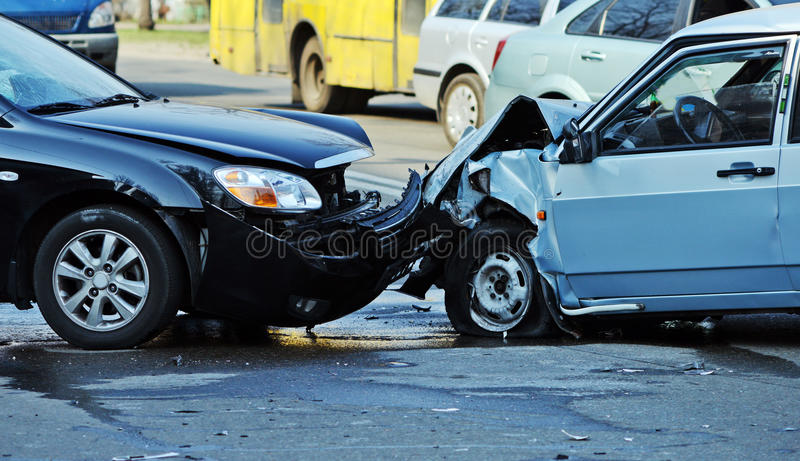 Car accident. On the road stock photo