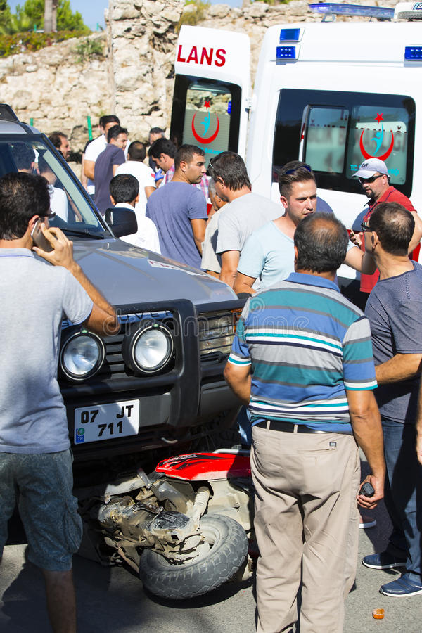 Car accident on a road bike and jeep stock photos