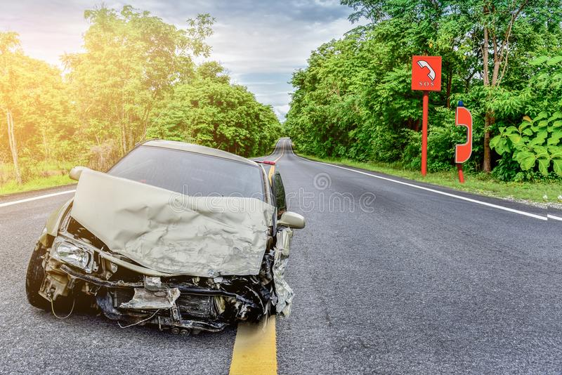 Car accident on road royalty free stock image