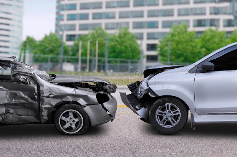 Car accident on the road royalty free stock image