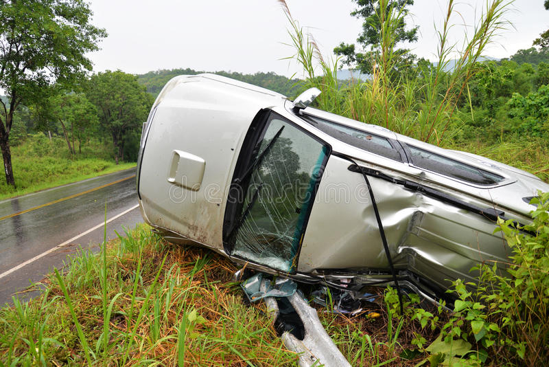 Car accident. On the road slippery roads with rain royalty free stock photo