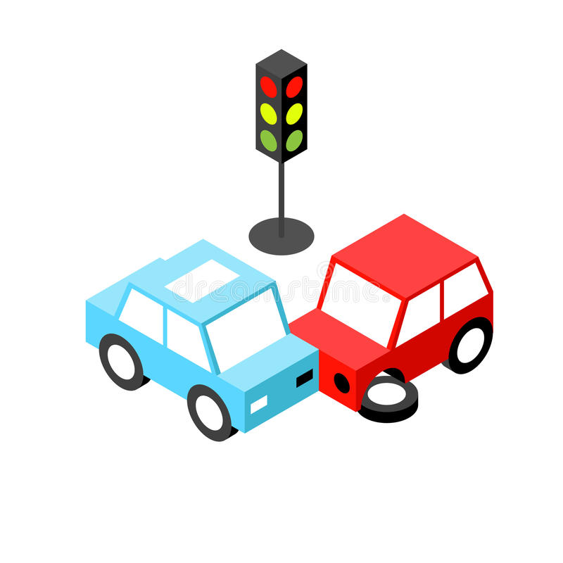 Car accident traffic light isometric royalty free illustration