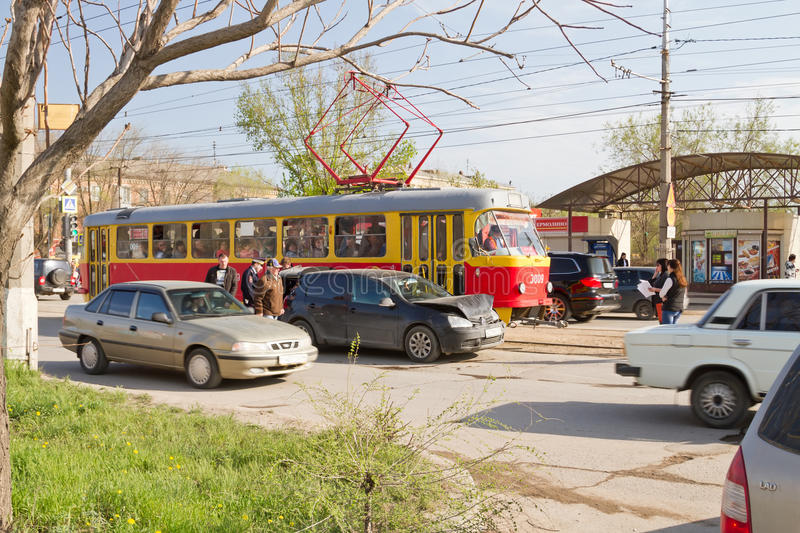 Car accident on the tram tracks prevents normal movement of urba. VOLGOGRAD - April 19: car accident on the tram tracks prevents normal movement of urban stock photography