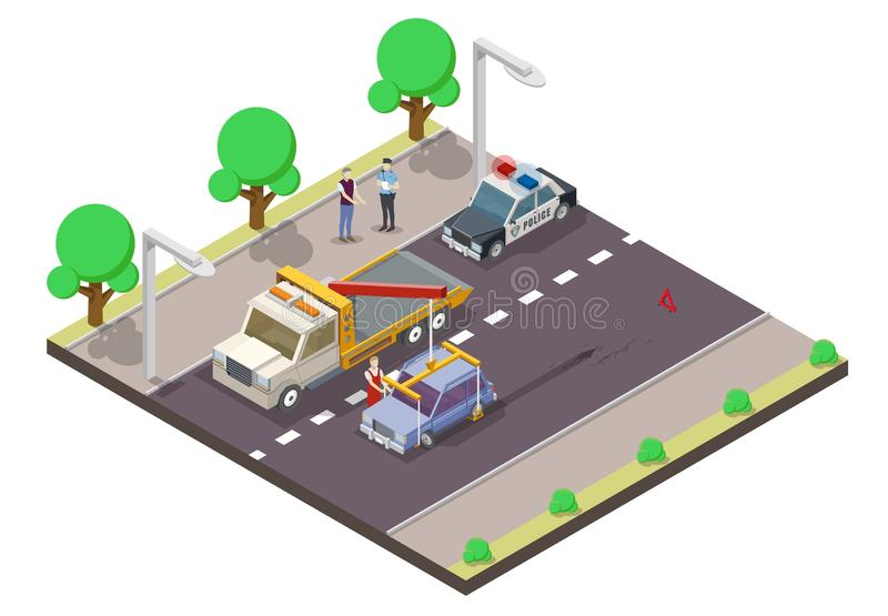 Car accident vector flat isometric illustration royalty free illustration