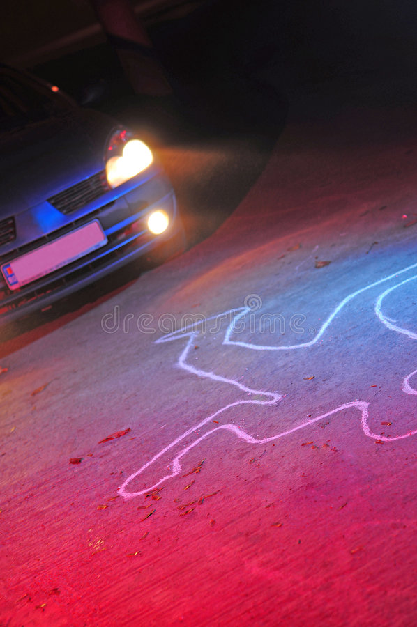 Car accident victim. A car accident scene with a dead body silhouette laying on the ground after he has been hit. Red and blue police lights combined with the