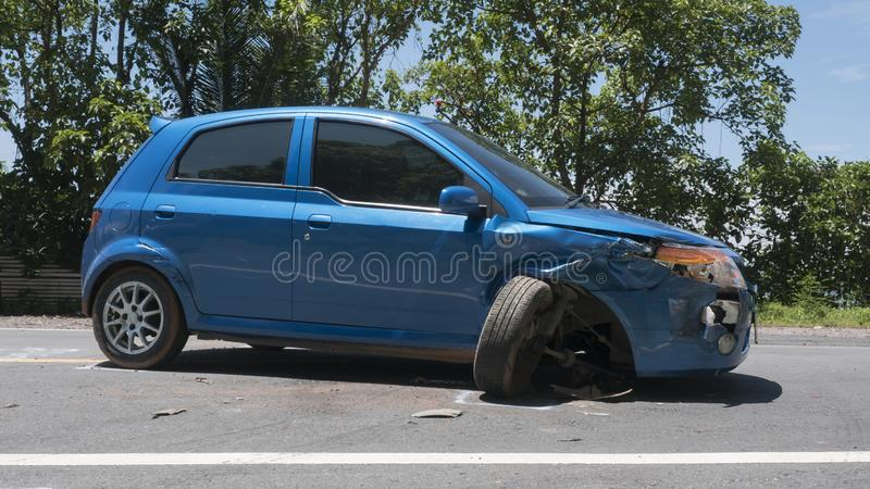 The car accident was hit in Koh Chang, Trat, Thailand stock images