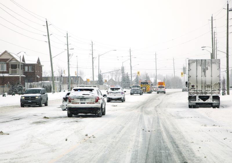 Car accident in winter. The danger of driving in winter. stock image