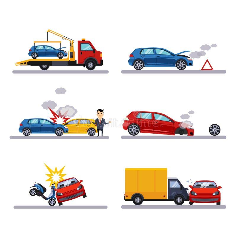 Car accidents set on white stock illustration