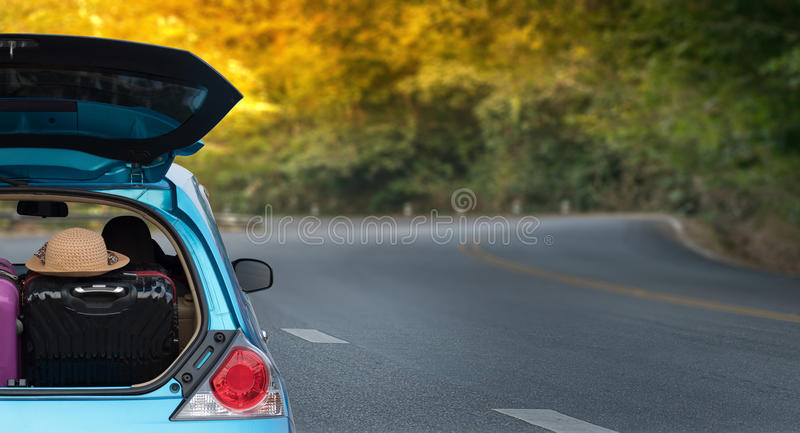 Car adventure! relaxing and enjoying road trip. rides into the. Sunset trip stock photography