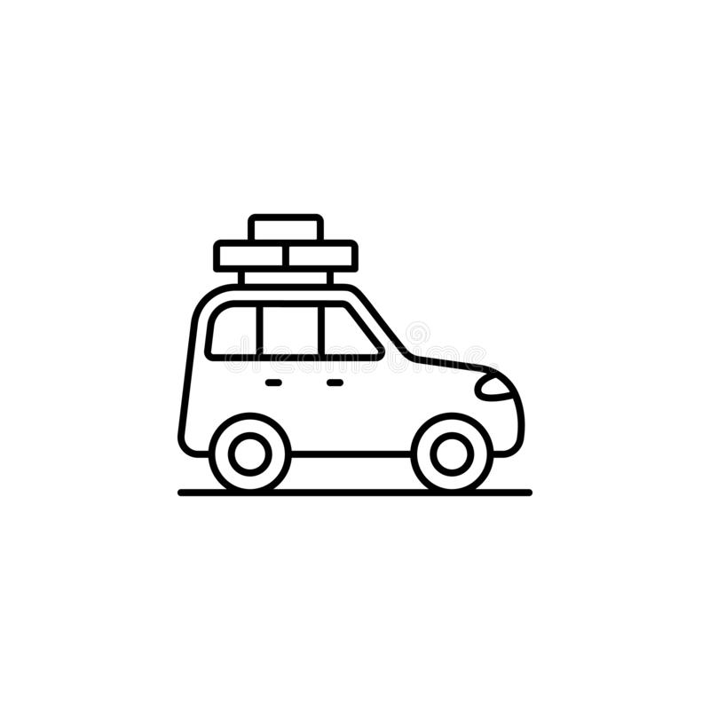 Car, adventure, story icon. Simple thin line, outline vector of adventure icons for ui and ux, website or mobile application. On white background vector illustration