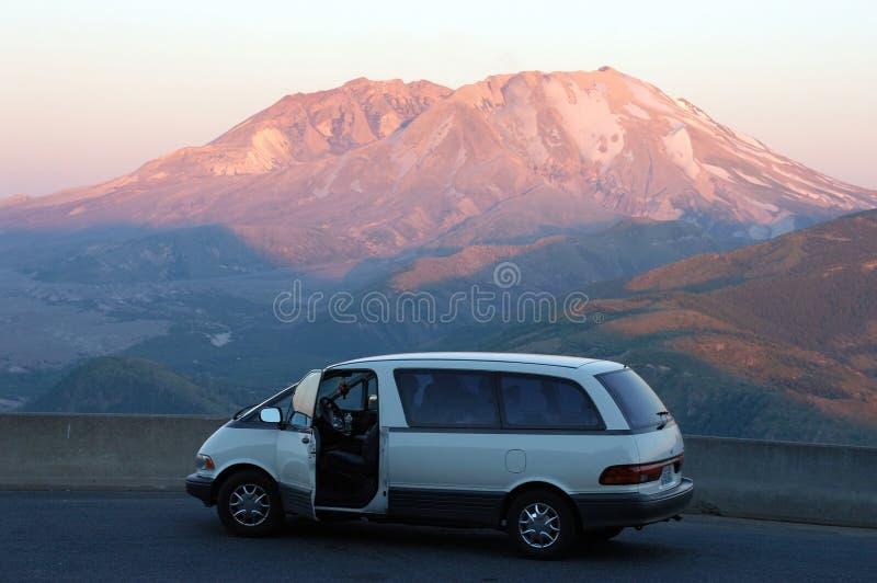 Car against Mount St Helens stock photos