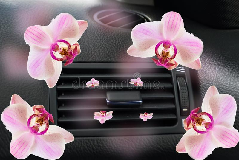 Car air conductor flowers orchid fragrance freschener  aircondition vector illustration