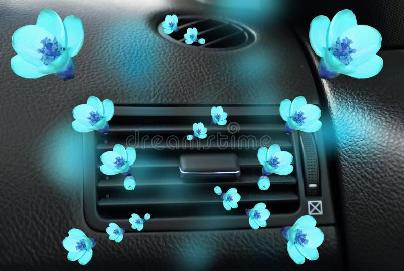 Car air conductors air fresh aroma freshener. Background stock photo