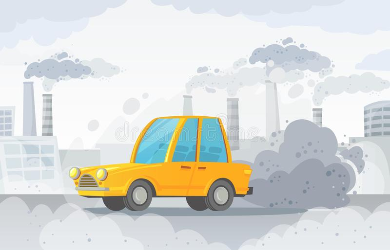 Car air pollution. City road smog, factories smoke and industrial carbon dioxide clouds vector illustration stock illustration