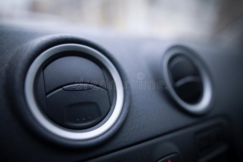Car air vents detail. Close up shot of a the air vents inside a car stock photos