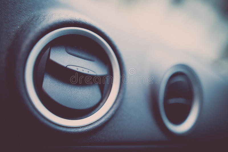 Car air vents detail. Close up shot of a the air vents inside a car stock images