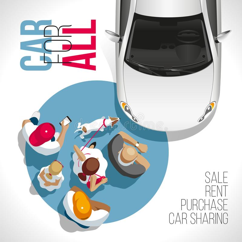Car For All. Auto for everyone!. The car for all and everyone! The group of people waits for the moment of receiving the car stock illustration