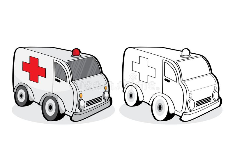 Car ambulance Emergency patient People hurt stock illustration