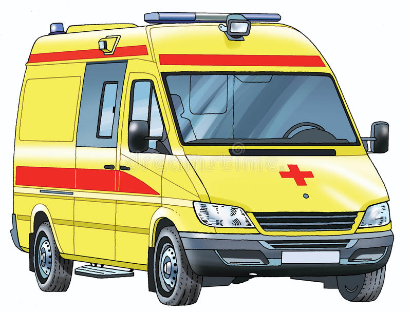 Car ambulance. Red cross pattern minibus resuscitation royalty free illustration
