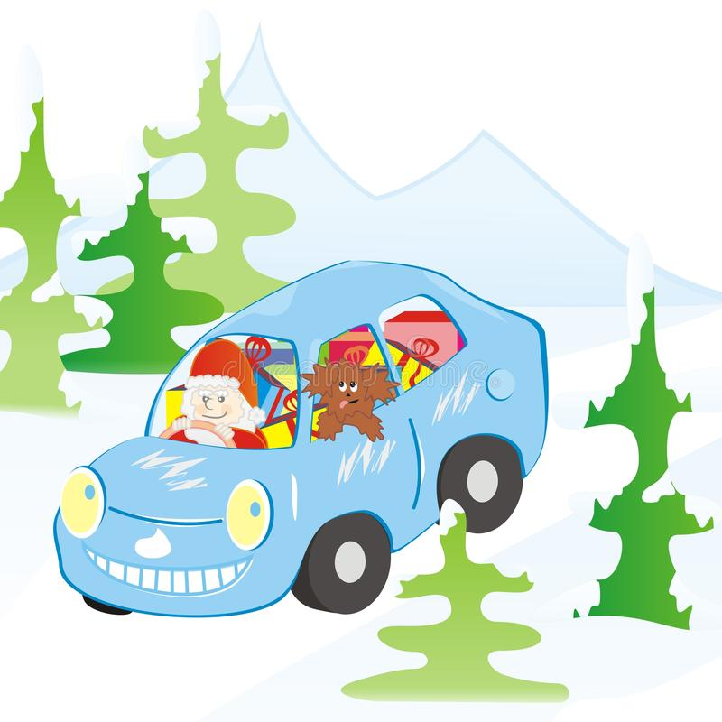 Free Car And Santa Claus Royalty Free Stock Photography - 32411877