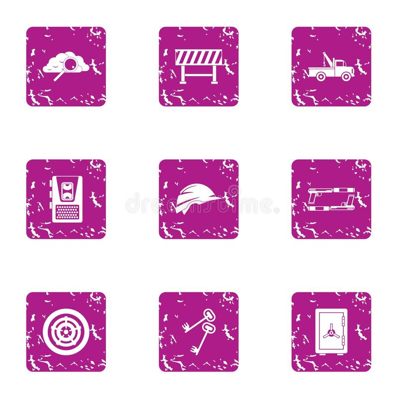 Car artificer icons set, grunge style. Car artificer icons set. Grunge set of 9 car artificer vector icons for web isolated on white background royalty free illustration
