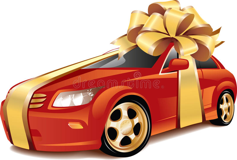 Car as a gift stock illustration