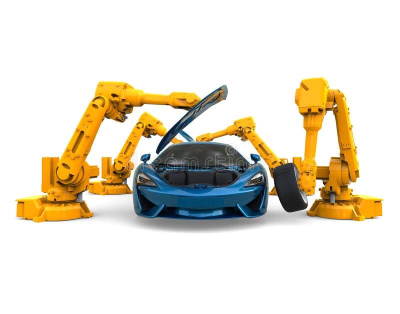 Car Assembly Robots royalty free illustration