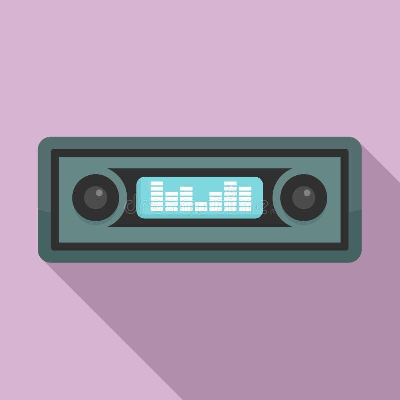 Car audio icon, flat style royalty free illustration