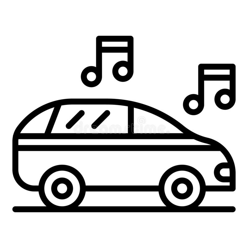 Car audio icon, outline style royalty free illustration