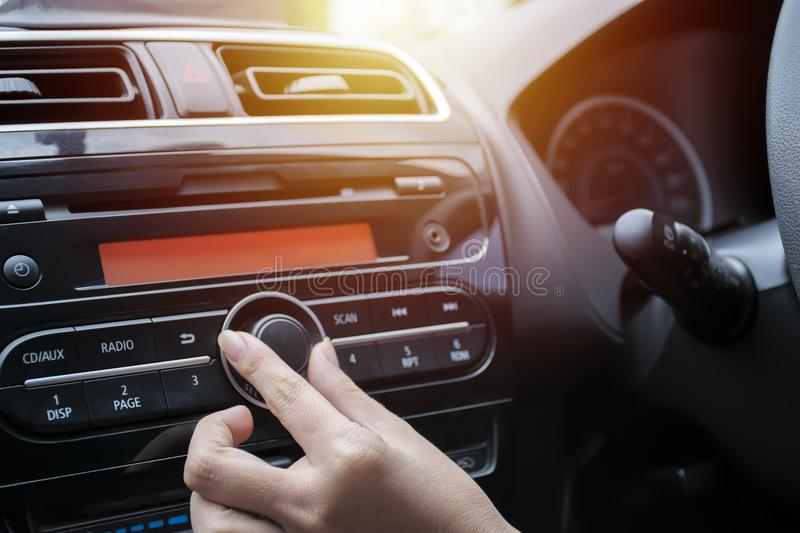 Car audio system concept. Music player in car. stock image