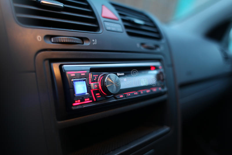Car audio. System on face panel stock images