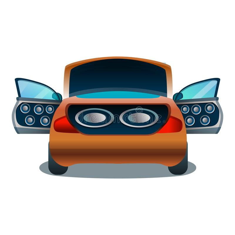 Car audio system icon, cartoon style royalty free illustration