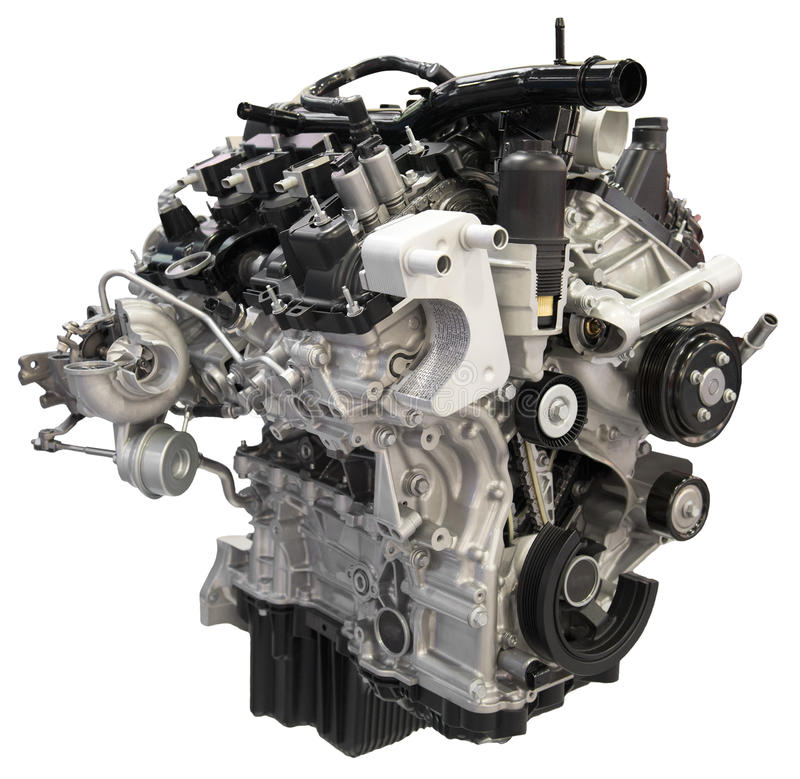 Car Auto Engine Motor Cutout Isolated. Car auto combustion gasoline engine cutout. The automobile motor is isolated on white stock images
