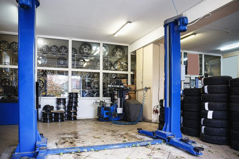 Car or auto repair station or automotive service industry garage. Inside interior stock photos