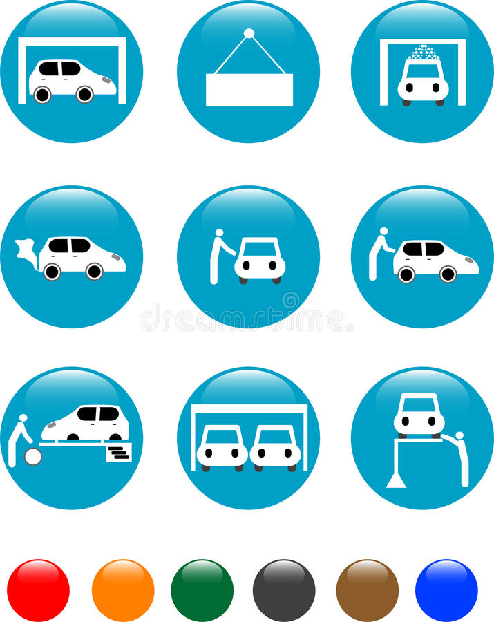 Car Auto service blue button set icon royalty free illustration