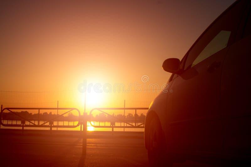 Car auto trip morning sunrise outdoors royalty free stock image