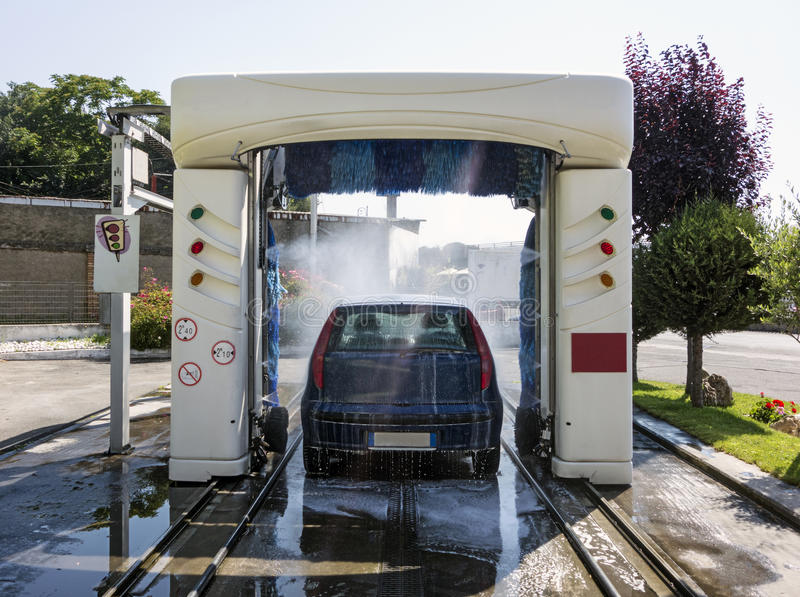 Car in Automatic Washing stock photo