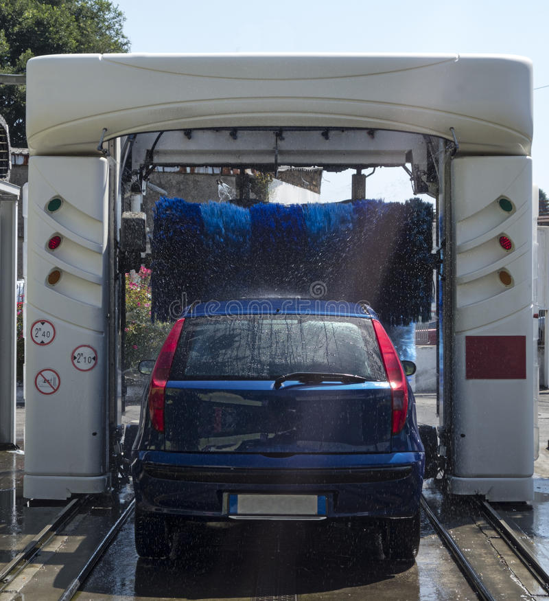 Car in Automatic Washing royalty free stock photo