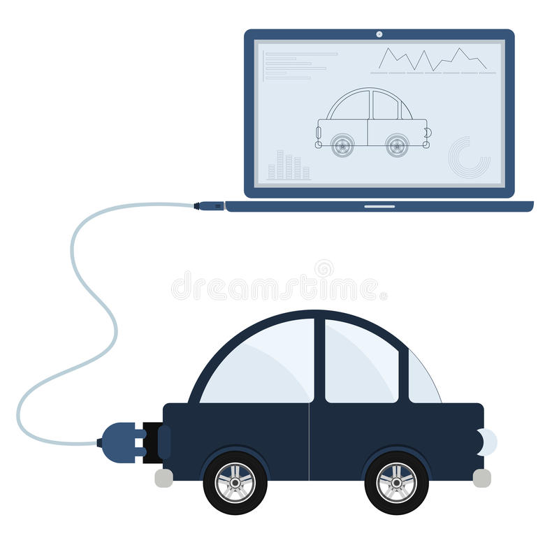 Car automation using laptop. Car connected to a laptop through a usb cable. Outline of the bus and graphs being shown on the computer monitor. Flat design vector illustration