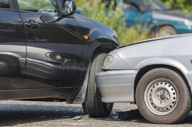 Car automobile crash from car accident on the road in a city. royalty free stock photos