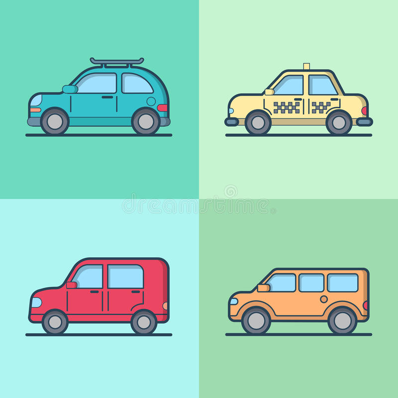Car automobile taxi cab jeep SUV vehicle sedan hat. Chback cool transport set. Linear stroke outline flat style vector icons. Color outlined icon collection royalty free illustration