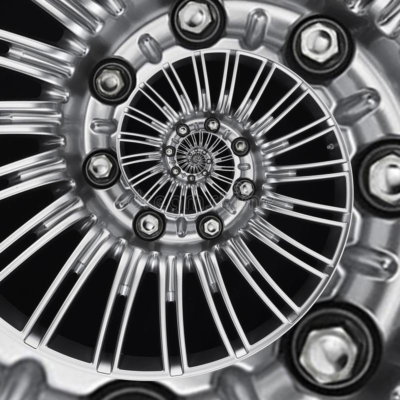 Car automobile wheel rim spiral abstract metallic fractal background. Silver hex nuts, wheel spokes spiral effect pattern backgrou royalty free illustration