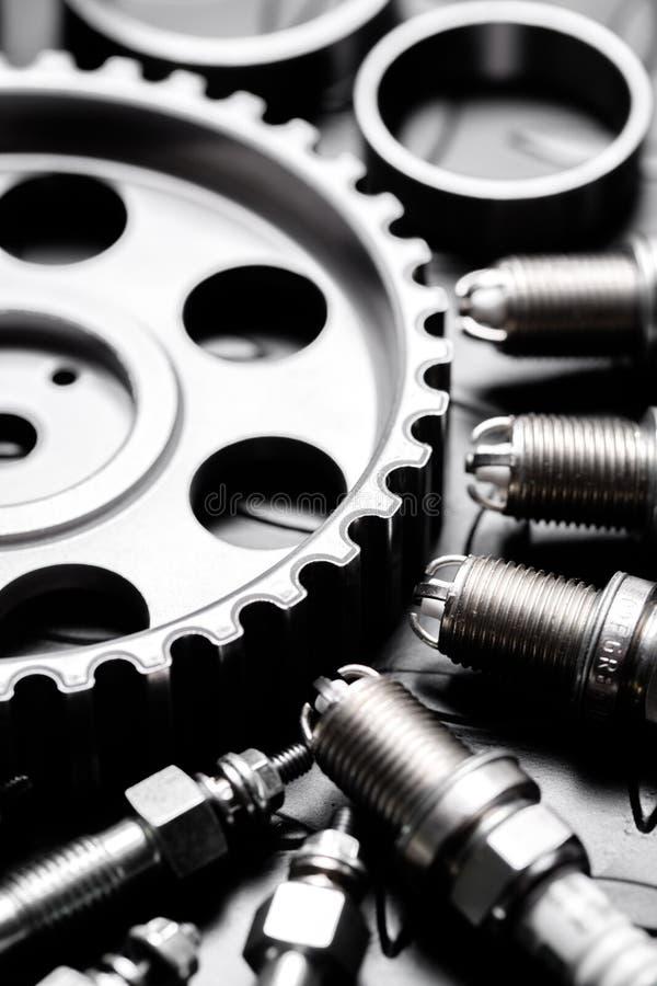 Car engine closeup, focus on pulley. Car automotive chrome mechanical vehicle gear automobile stock photo