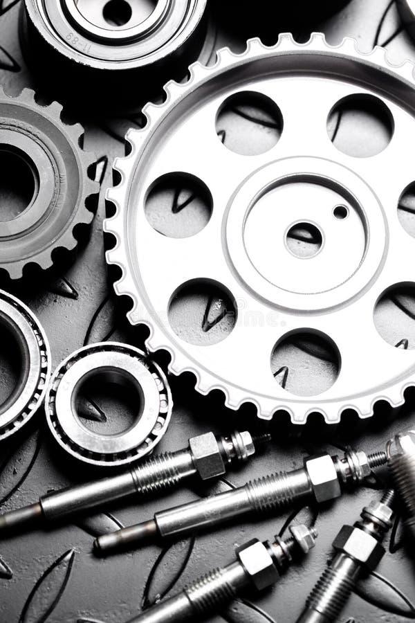 Car engine closeup, focus on pulley. Car automotive chrome mechanical vehicle gear automobile royalty free stock photos